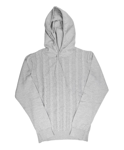 Heather Grey Cable Knit Hoody Sweater