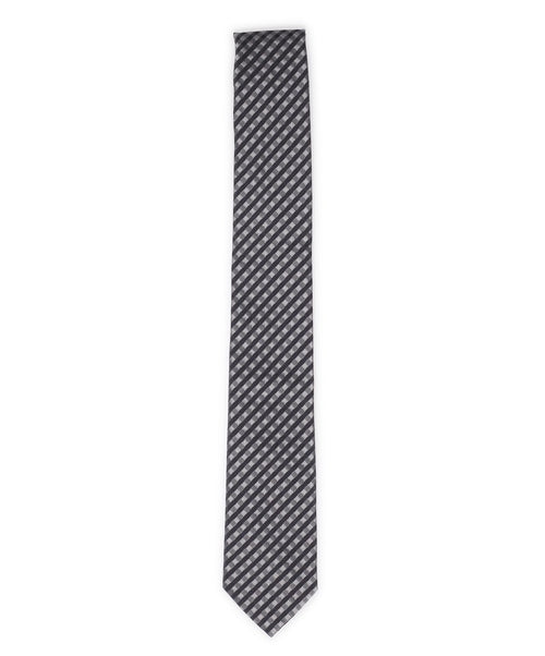 6.0cm Slate/Black Varied Diagonal Mini Check Tie