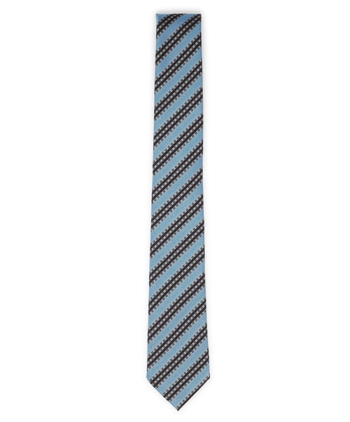 6.0cm Aqua/Black/Grey Bright Engineered Stripe Tie
