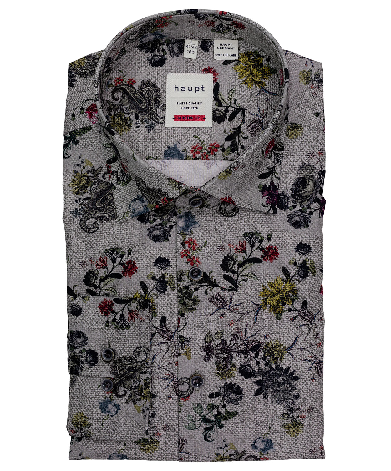 Black/Red/Blue Paisley & Floral Print Modern Fit Shirt