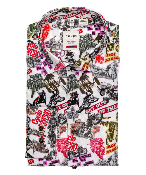 Multi Color Allover Motorcycle Print Modern Fit Shirt