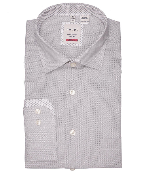 White/Taupe Contrast Trim Diamond Pattern Modern Fit Sport Shirt