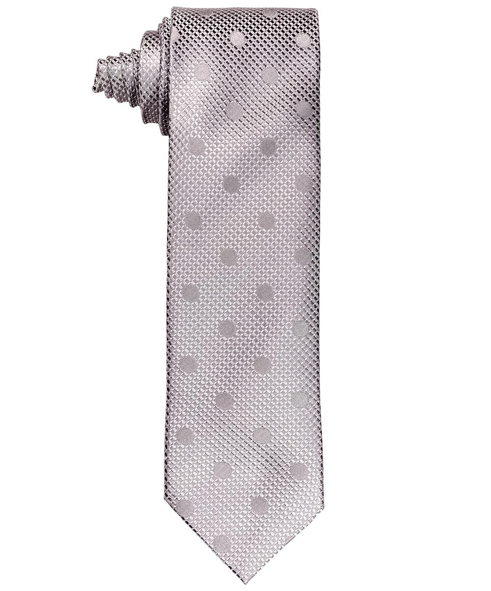 8.0cm Silver Luxury Raised Satin w Dispersed Tonal Dot Tie