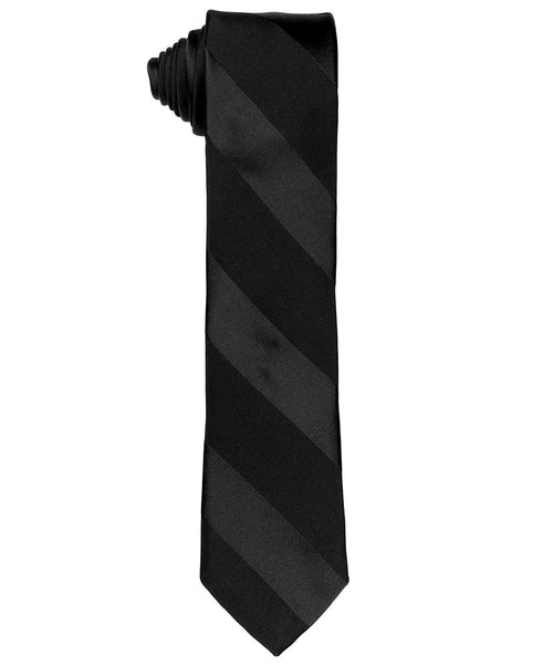 "2.5"" Black/Black Large Diagonal Tonal Stripe Tie"