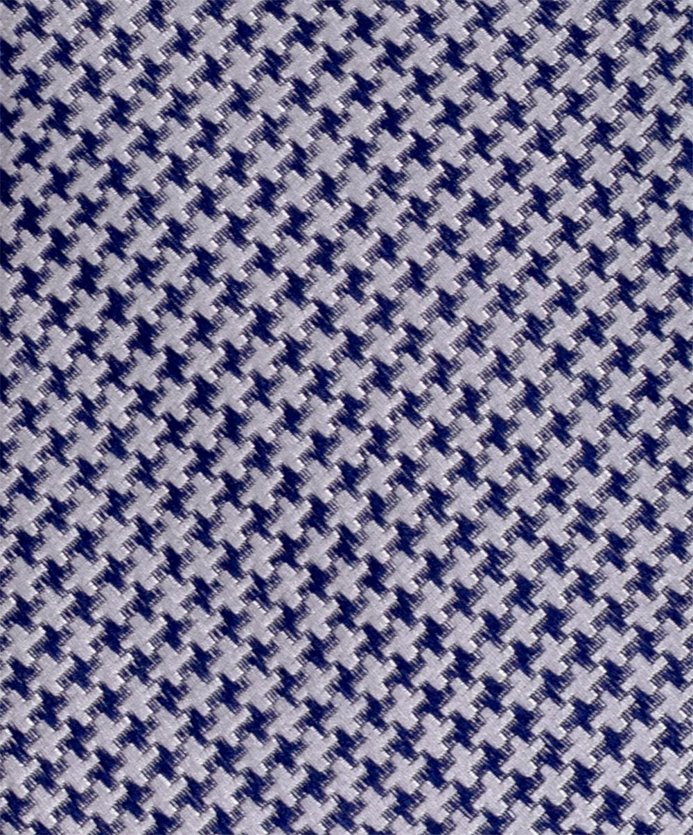 "2.5"" Grey/Blue Small Houndstooth Woven Tie"