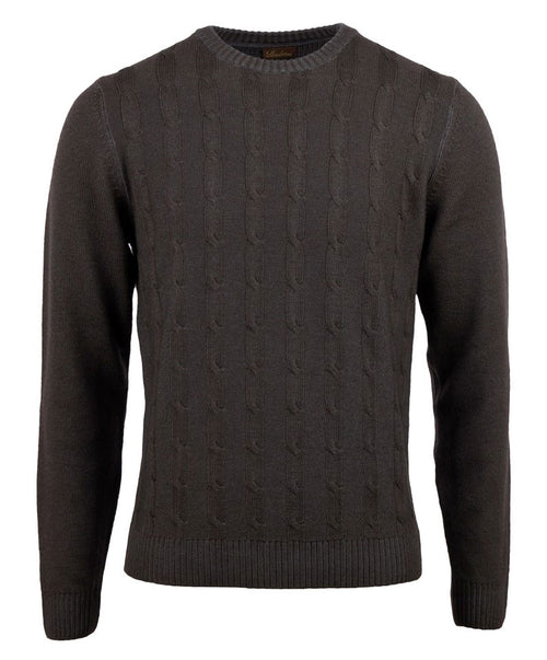 Dark Earthy Grey Cable Knit Crew Neck Sweater