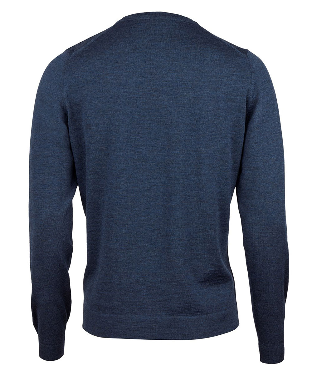 Indigo Blue Melange Crew Neck Knit Sweater