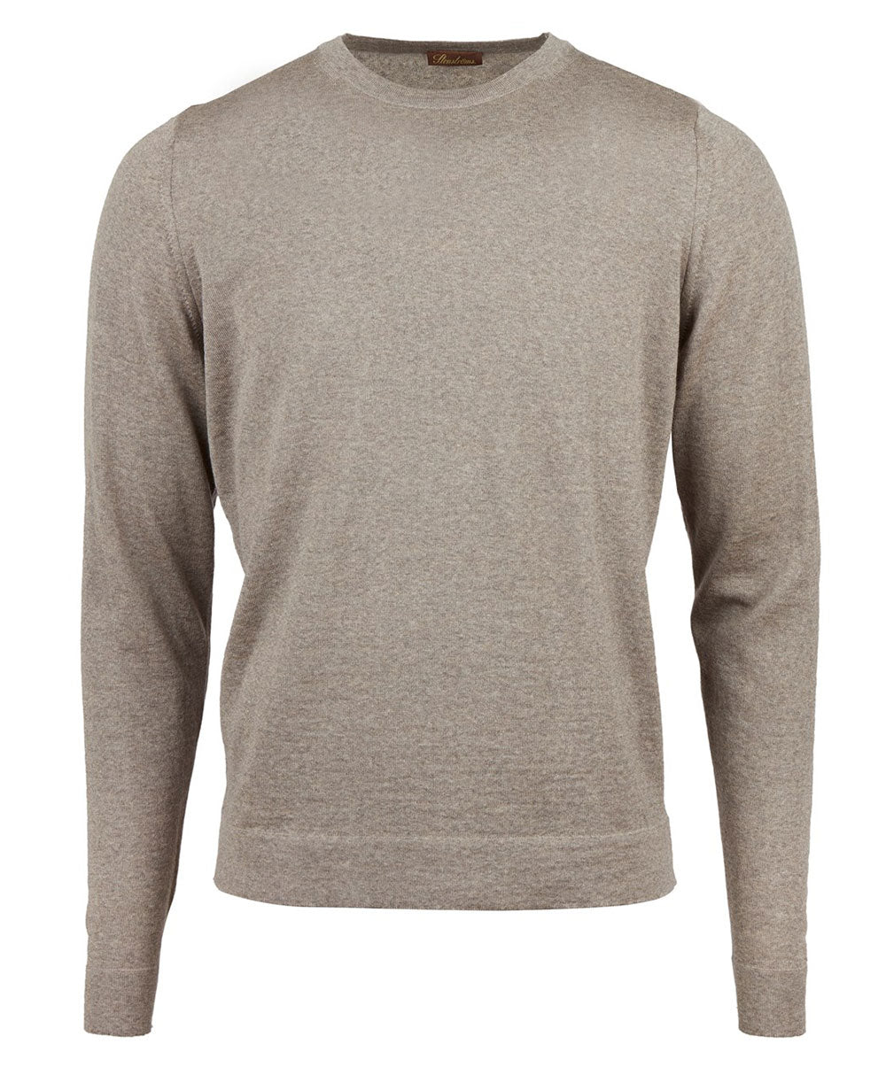Beige Melange Crew Neck Knit Sweater