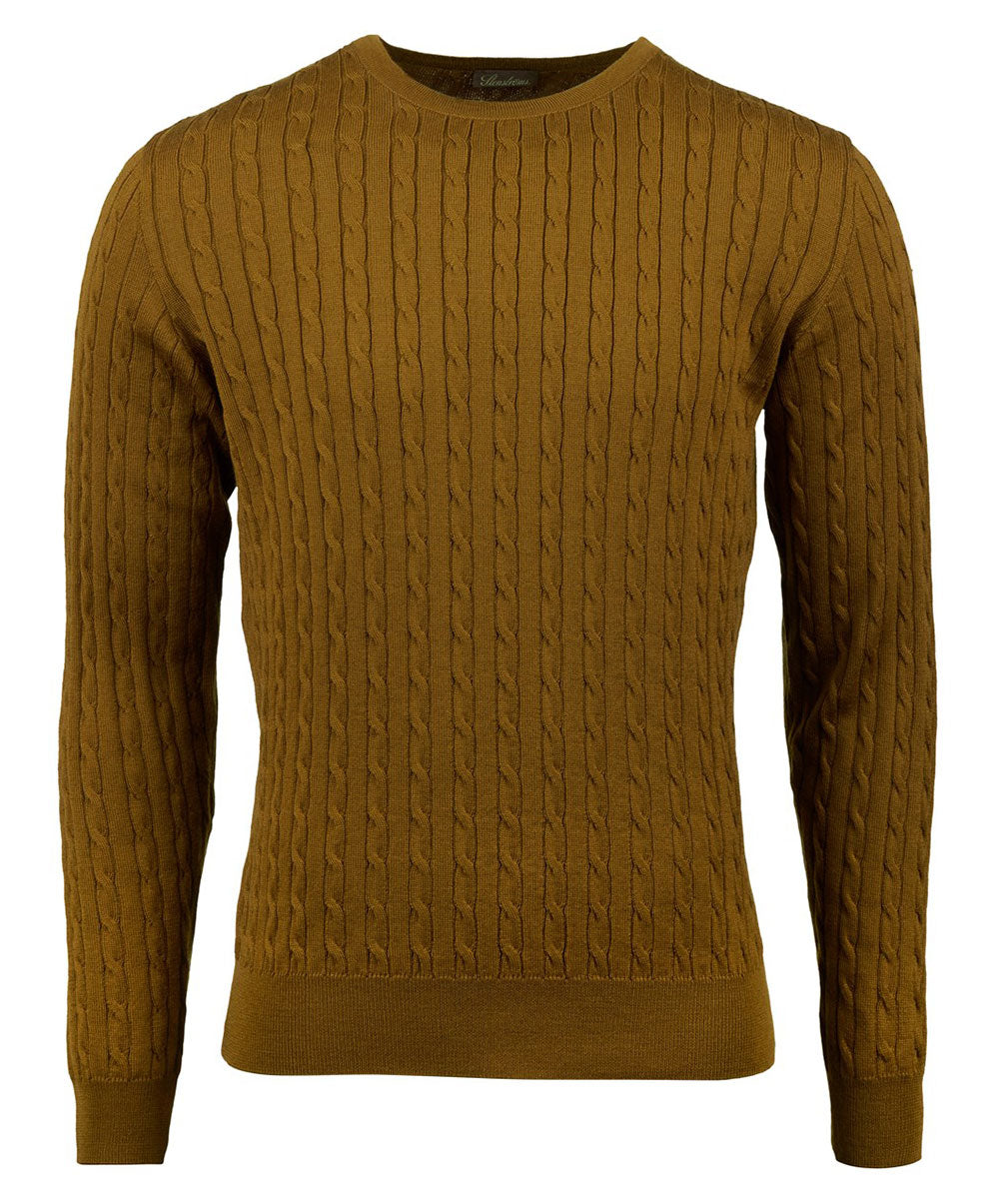 Mustard Cable Knit Crew Neck Sweater