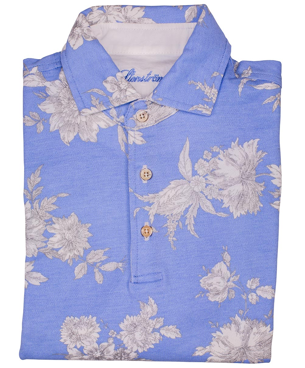 Sky Blue/Eggshell Large Soft Floral Printed Polo