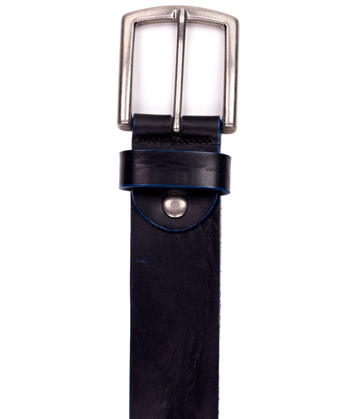 Black/Blue Edge Vintage w/ Tarnished Silver Buckle Jean Belt