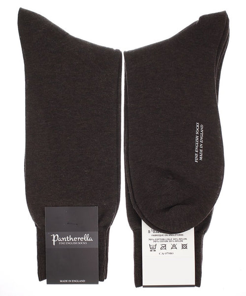 Dark Brown Mix Flat Knit Solid Cotton Lisle Blend Mid Calf Socks
