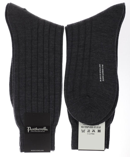 Dark Grey Mix 8x3 Rib Stretch Solid Merino Wool Blend Mid Calf Sock