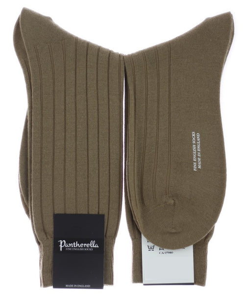 Dark Camel 8x3 Rib Stretch Solid Merino Wool Blend Mid Calf Sock