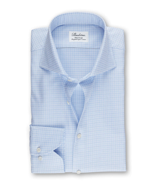 White/Blue Micro Plaid Fitted Body Dress Shirt