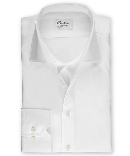 White Extra Long Sleeves Fitted Body Regular Cuff Dress Shirt