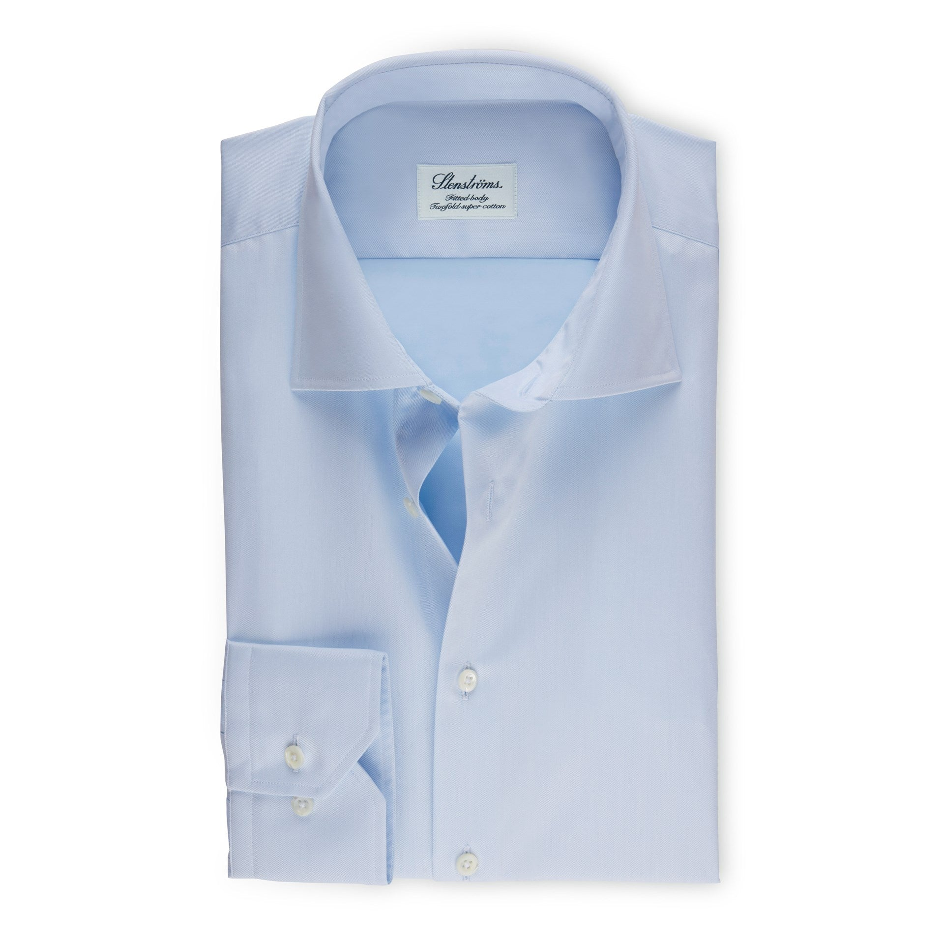 Light Blue Fitted Body Dress Shirt In Superior Twill
