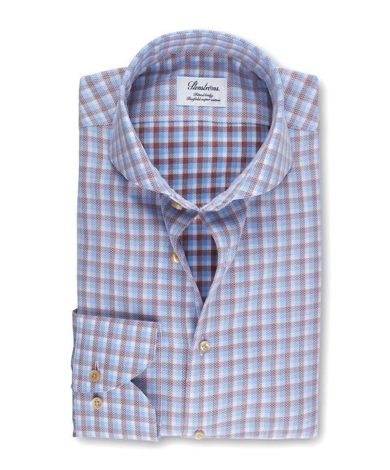 White/Blue/Tabacco Small Woven Plaid Fitted Body Dress Shirt