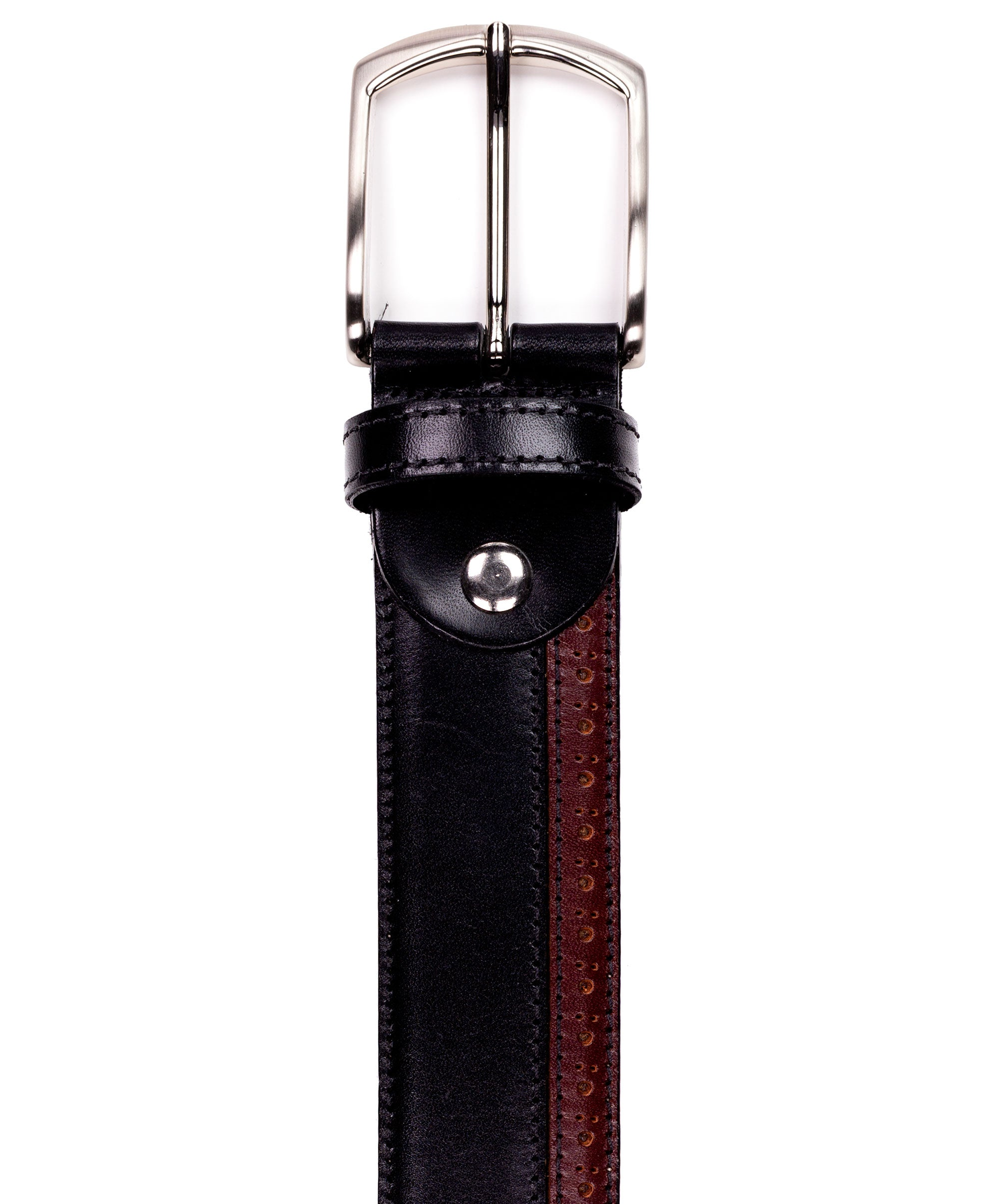 Black/Brown Bi-Color w/ Brogue Lasered Edge Belt