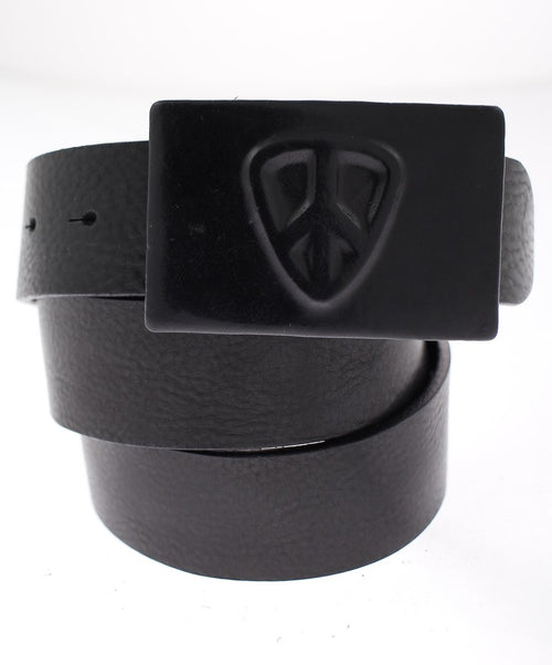Black Leather Wrapped Buckle with Pic Logo Casual Belt