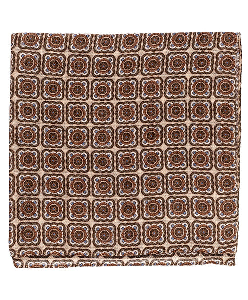 Sand/Tabacco Square Pattern Pocket Square