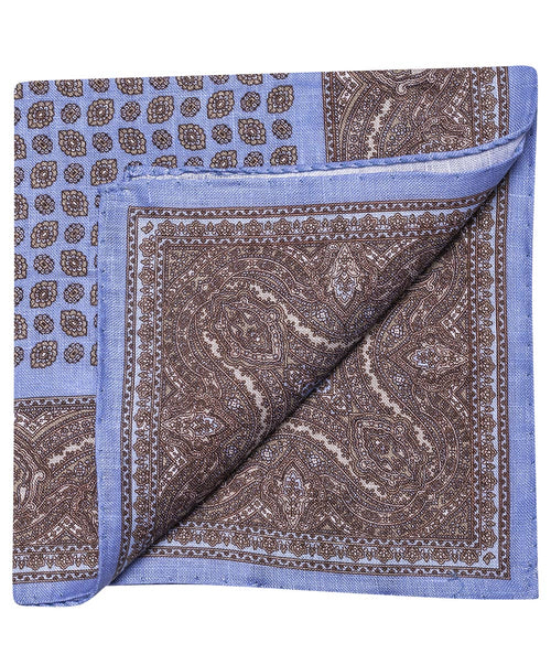 Blue/Sand/Tabacco Brochade Pattern w Paisely Pocket Square