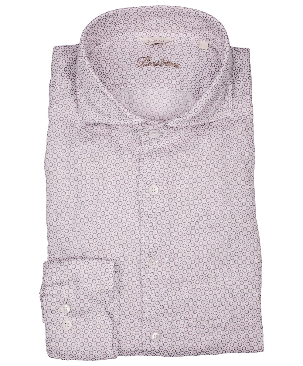 Café/Eggshell Circle & Pindot Pattern on Light Ground Fitted Body Sport Shirt