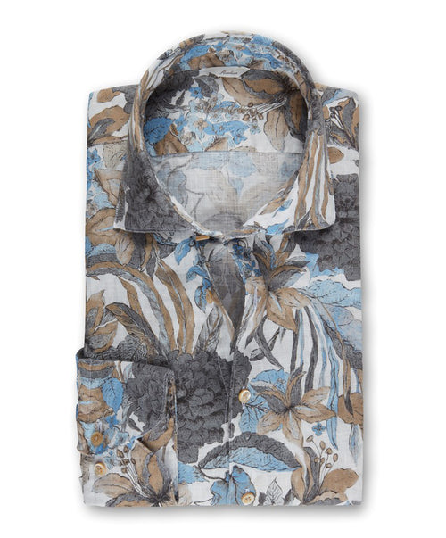 Slate/Café/Ice Blue/White Large Floral Print Linen Fitted Body Sport Shirt