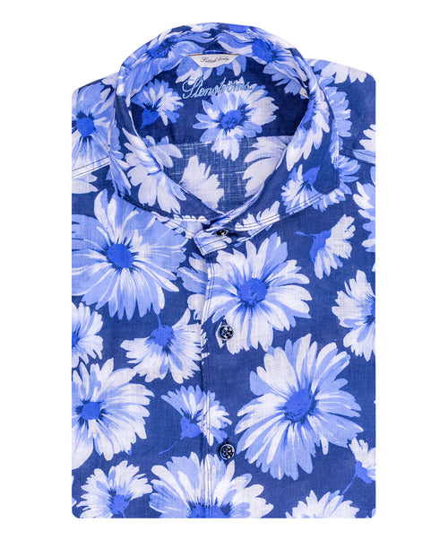 Navy/Blue Large Daisy Pattern Fitted Body Sport Shirt