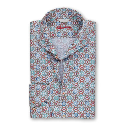 Green/Orange/Blue Moseic Pattern Fitted Body Sport Shirt