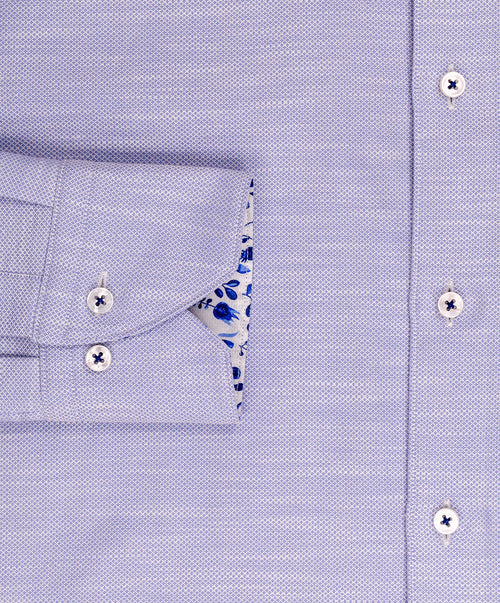Blue Neat Micro Dot Floral Trim Fitted Body Dress Shirt