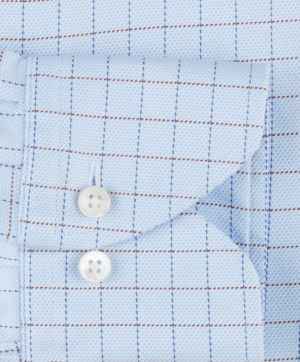 Sky Blue/Navy/Brown Window Pane Slimline Dress Shirt