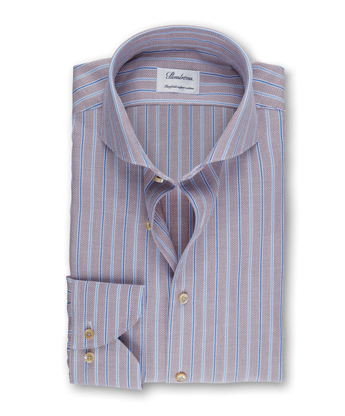 Tabacco/Blue Wide & Narrow Stripe Slimline Dress Shirt