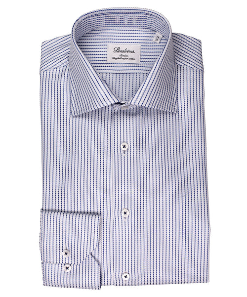 Grey-Blue/Blue Pinstripe on Light Semi-Solid Ground Slimline Dress Shirt