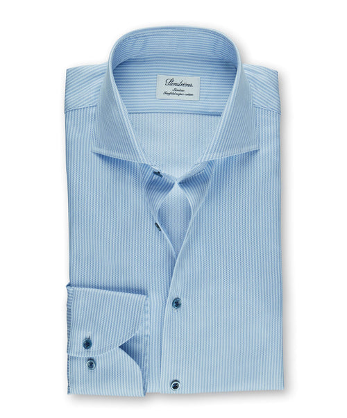 Blue/White Narrow Woven Stripe Slimline Dress Shirt