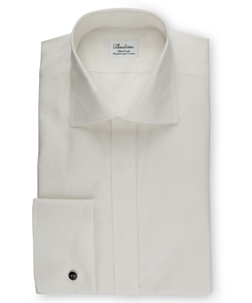 Off-White Slimeline French Cuff Fly Front Dress Shirt