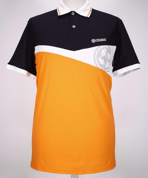 Black/Orange/White Color Block Polo