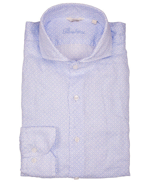 Sky Blue/Pearl Circle & Pindot Pattern on Light Ground Slimline Sport Shirt