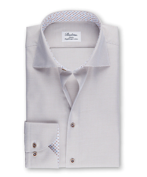 Tabacco Mini Houndstooth With Neat Trim Slimline Dress Shirt