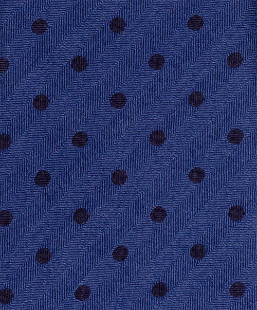 8.0cm Black/Powder Blue Clean Polka Dot on Herringbone Wool/Silk Tie