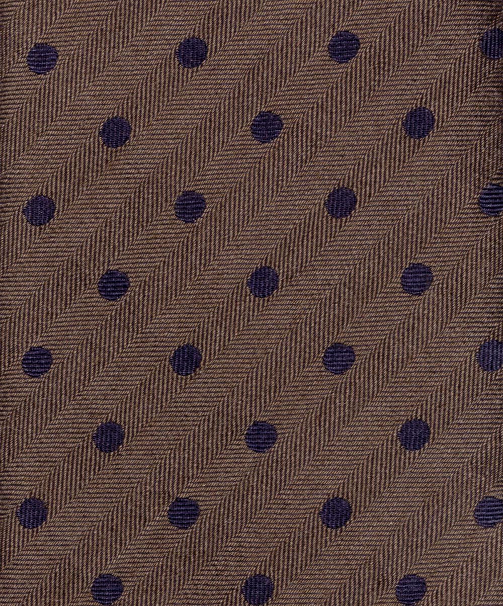 8.0cm Chocolate/Black Clean Polka Dot on Herringbone Wool/Silk Tie