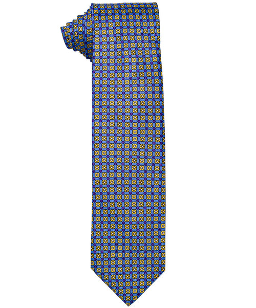 8.0cm Blue/Yellow Square Neat Pattern Tie