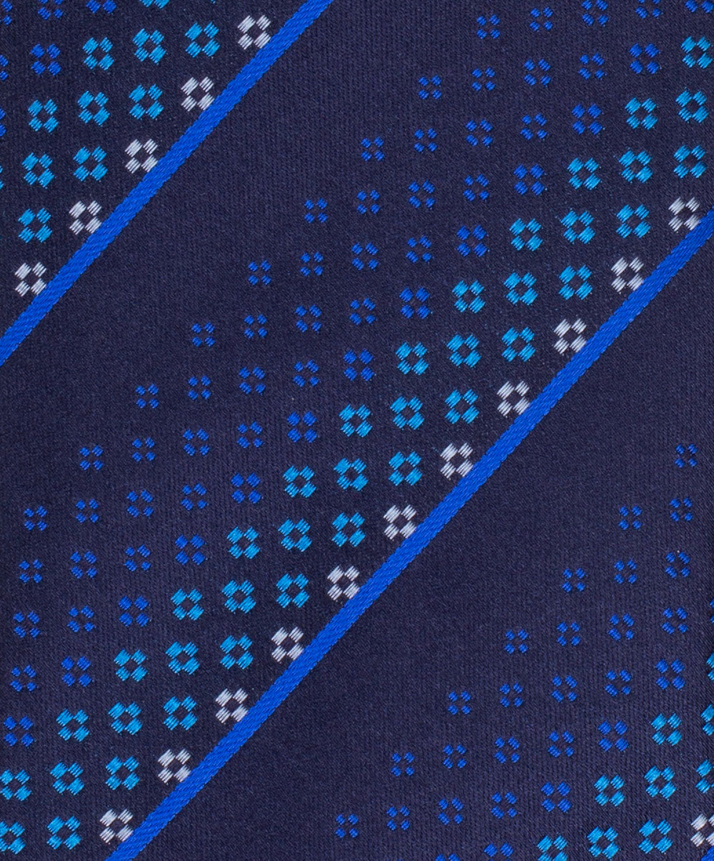 8.0cm Navy/Royal Blue/Cobalt Blue/White Diamond & Stripe Tie