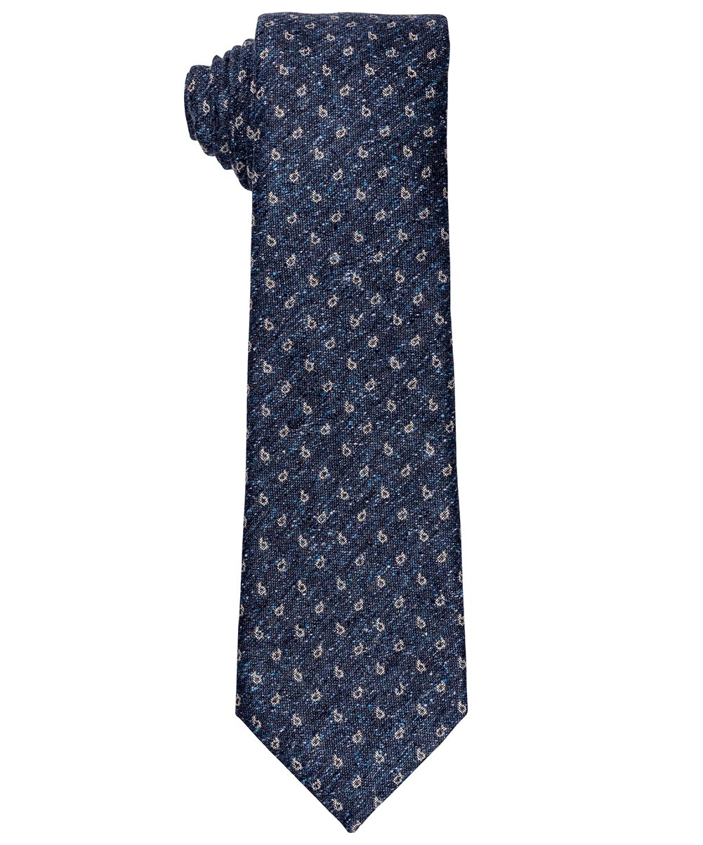 8.0cm Navy/Cobalt Blue/Peuter Micro Paisley on Donnegal Woven Tie