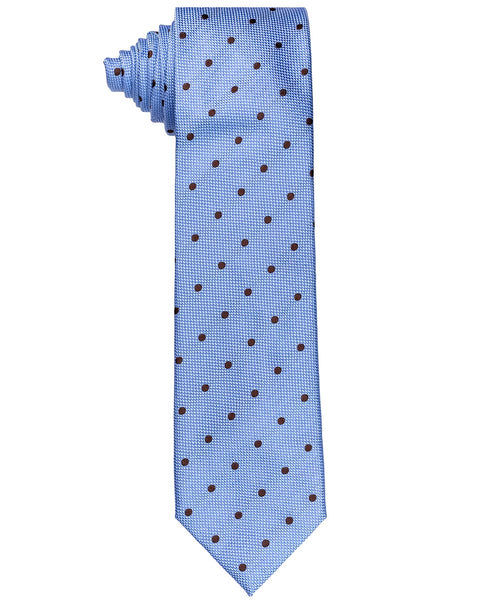 Sky Blue/Brown Dispersed Woven Polka Dot Tie