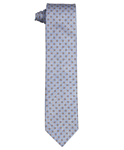 8.0cm Light Blue/Brown Flower Patterned Tie