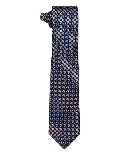 Navy/Wheat Interlocking Cirlcle Pattern Tie