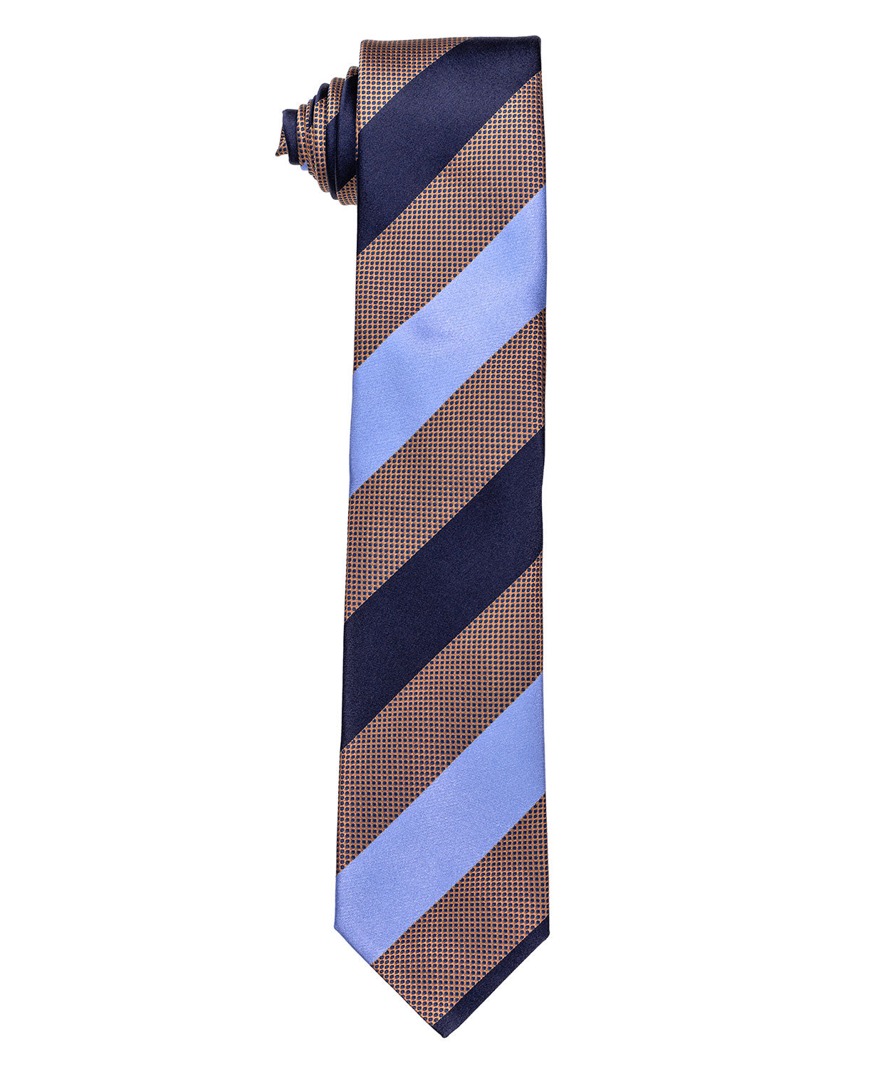 Tabacco/Blue/Navy Wide Stripe Tie