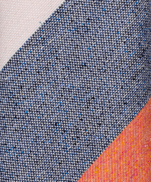 Peach/Blue/Ivory Regimental Wide Strip Tie