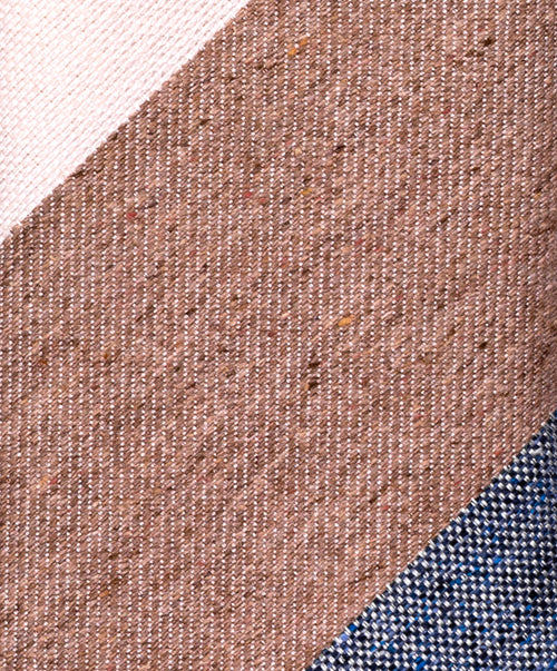 Wheat/Ivory/Blue Regimental Wide Stripe Tie
